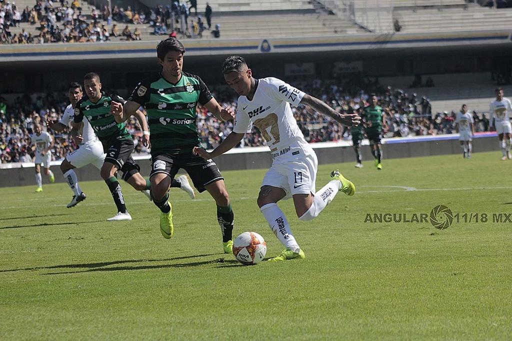 Pumas, empata 1-1 con Santos, Laguna en la jornada 17 del torneo apertura de la liga Mx 2018,