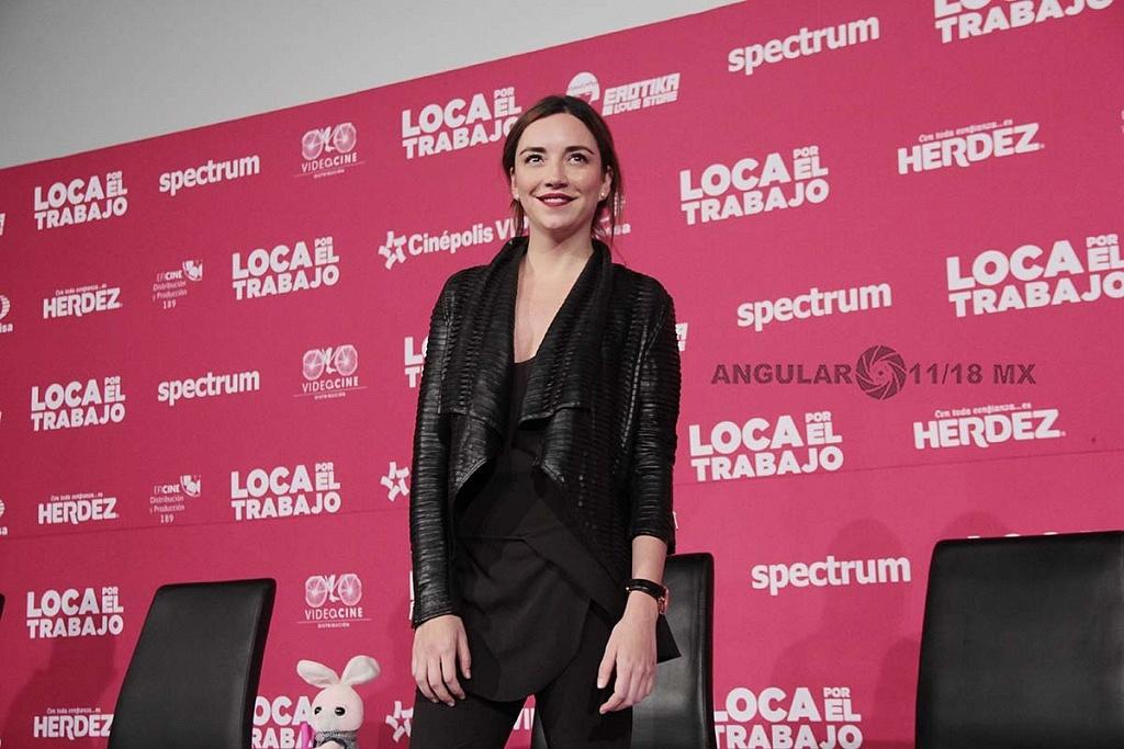Regina Blandón en la presentación de la pelicula Loca Por el Trabajo
