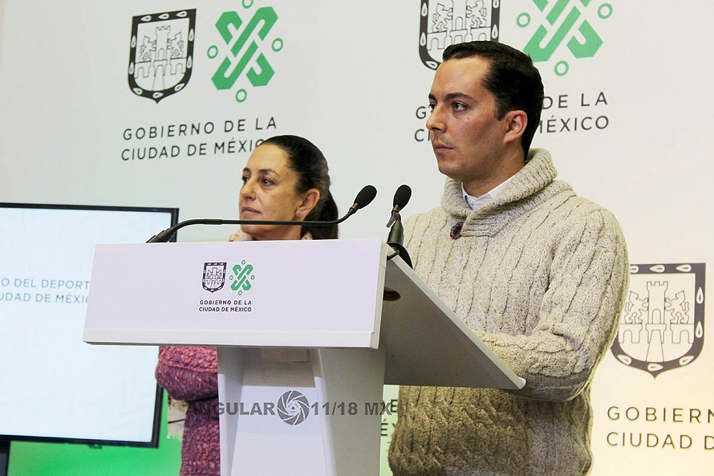 Claudia Sheinbaum Pardo Jefa de Gobierno de la CDMX presentò a Rodrigo Dosal Ulloa como director general del INDEPORTE de la CDMX,