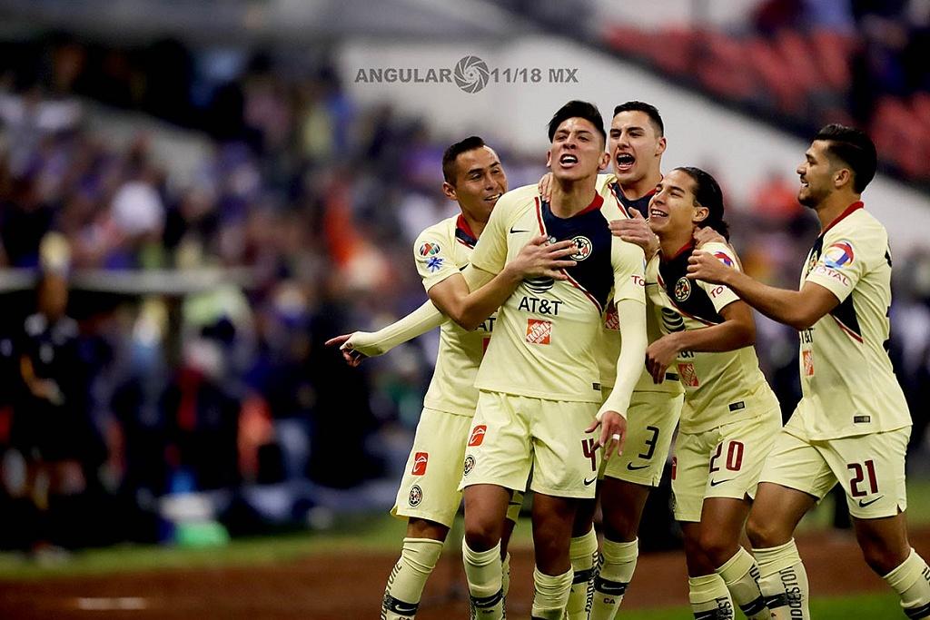 Edson Álvarez, autor del primer gol del América en la final del Torneo de la Liga MX Apertura 2018 en el Estadio Azteca