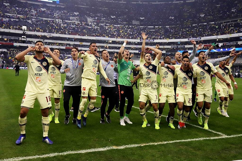 festejo de las Águilas del América tras ganar la final del torneo de la liga mx apertura 2018, frente al Crurz Azul